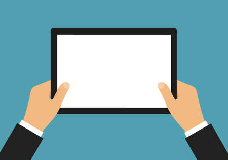 Flat design illustration of manager hands in suit holding tablet with blank white touch screen and space for text - vector