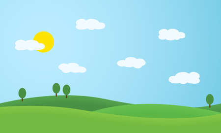 Flat design illustration of landscape with meadows and hills. Green trees under blue sky with sun and white clouds - vector