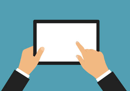 Flat design illustration of hand of businessman holding touch screen tablet with space for text or graphic - vector