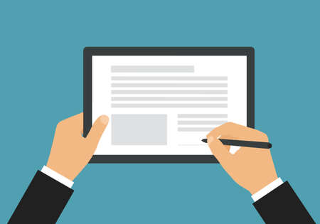 Flat design illustration of a businessman's hand holding a touch screen tablet and a pen. Signs a document or contract - vector