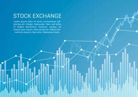 Blue stock market or financial candlestick chart with rising and increase trend and text - vector