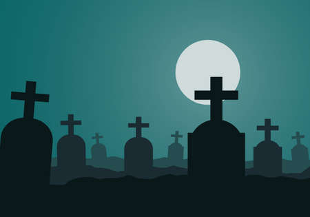 Illustration of a night cemetery with tombstones and green sky. The full moon shines on a spooky Halloween landscape. Space for text - vector