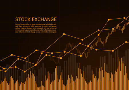 Orange stock market or financial candlestick chart with rising and increase trend and text - vector