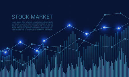 Blue stock market or financial chart with rising and increase trend and text - vector