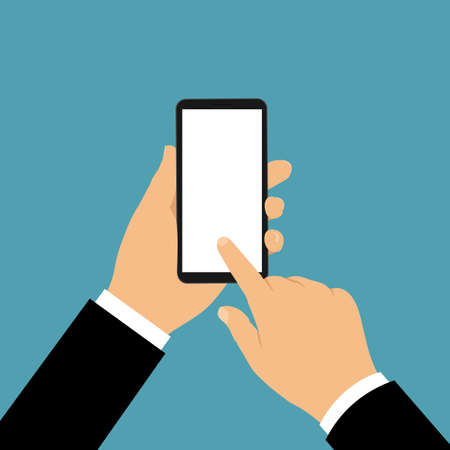 Hand of a manager or businessman holding a black mobile phone with a blank white display. He points to the touch screen with his index finger - vector
