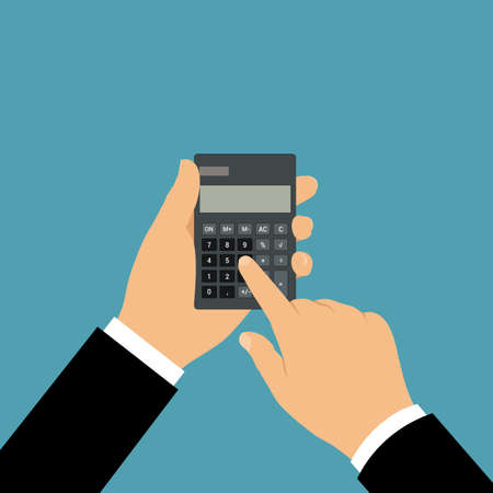 The hand of a manager or businessman holding a black calculator with a blank gray screen. He clicks on the number buttons with his index finger. Space for text - vector