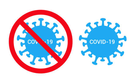 Flat design illustration of covid-19 virus and red prohibition signs. Suitable for banner stop coronavirus - vector Ilustrace