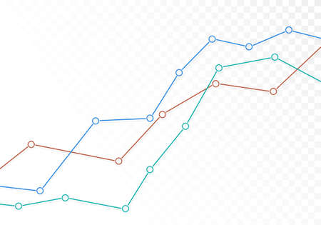 Illustration of a transparent line growing graph. Suitable as a background for a banner about stock trading and the economy. Space for your text - vector