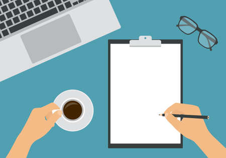 Flat design illustration of hands holding a pencil and a cup of coffee. Work desk with laptop and glasses. Worker writes on a white sheet of paper - vector