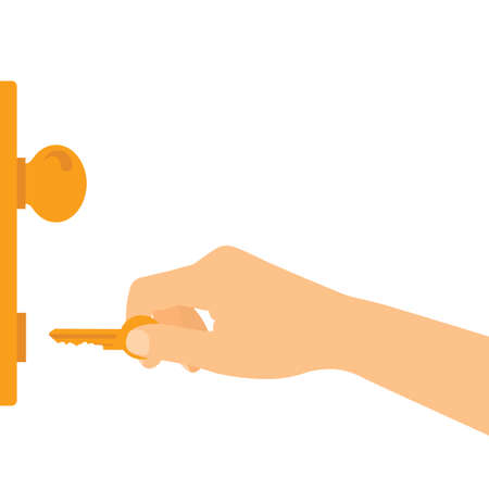 Flat design illustration of hand holding key and unlocking or locking entrance door - vector