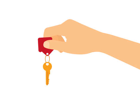 Flat design concept - male or female hand holding house key. Isolated on white background - vector