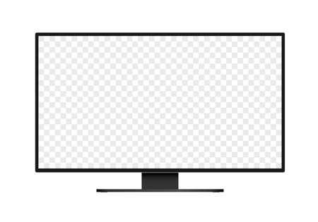 Flat design illustration of monitor for computer or television. Black frame with blank white screen for adding text or image. Isolated on white background - vector