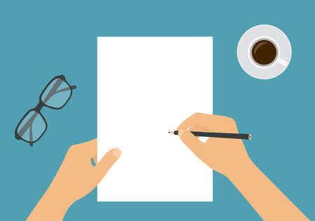 Flat design illustration of hand holding blank white sheet of paper and pencil. Drawing or writing with space for your text - vector