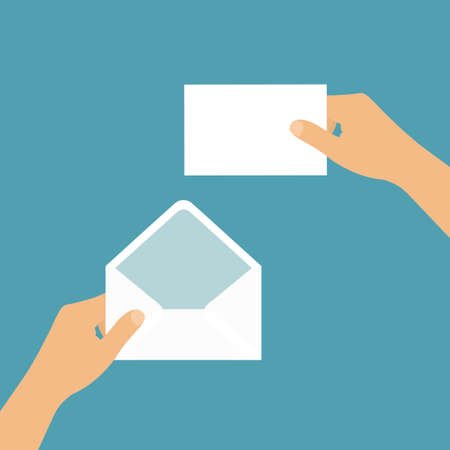 Flat design illustration of hand holding blank white open envelope and letter