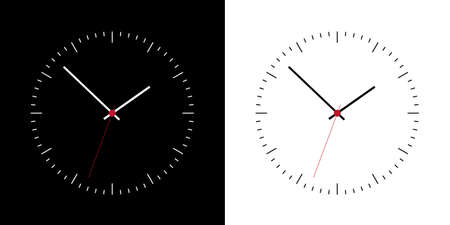 Flat design clock face with hands. Set of watches on a black and white background - vector