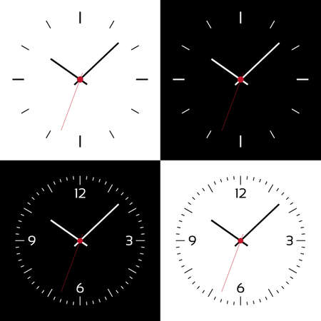 Flat design Illustration of clock face or wristwatch with black and white dial, numbers, hands and red center - vector