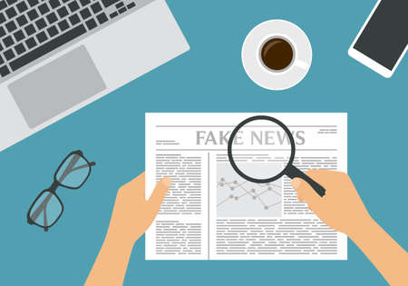 Flat design illustration of male or female hand holding newspaper with financial chart and headline Fake News. Magnifier and glasses with a cup of coffee on a green background - vector Ilustrace