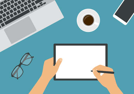 The hand of a man or woman holds a stylus and writes on a blank tablet screen. Laptop keyboard with cup of coffee and glasses on work desk in office - vector