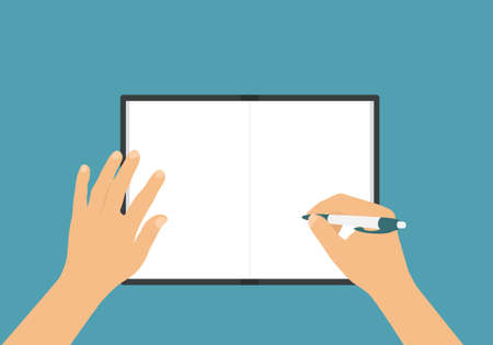 Flat design illustration of man or woman hands writing with pen in exercise book with blank white sheets - Vector