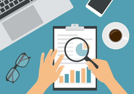 Flat design illustration of man or woman hand analyzing with magnifying glass on sheet of paper with financial chart. Laptop and cup of coffee with glasses on green office desk board - vector