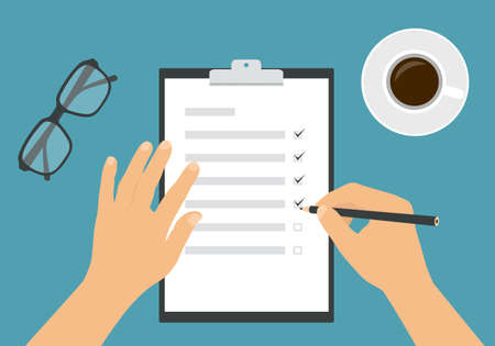 Flat design illustration of a woman's or man's hand filling out a task form with a pencil. Cup of coffee and glasses on a green background - vector