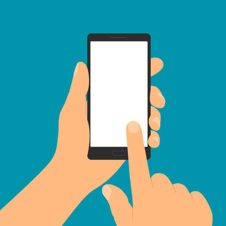 Flat design illustration of hand holding mobile phone with blank white display. Forefinger taps on touch screen - vector