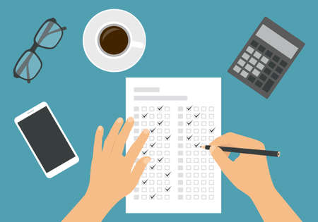 Flat design illustration of a man or woman's hand filling out a professional test answer form with a pencil. Cup of coffee with calculator and glasses on green background - vector