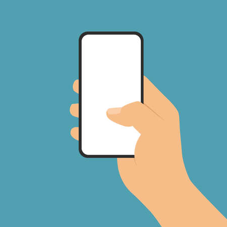 Flat design illustration of man or woman hand holding mobile phone with blank white touch screen on green background - vector