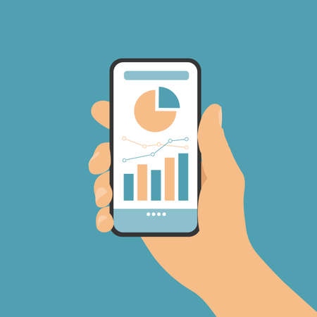 Flat design vector, hand holding mobile phone with white touch screen and financial chart, isolated on green background, suitable for infographics. Ilustrace