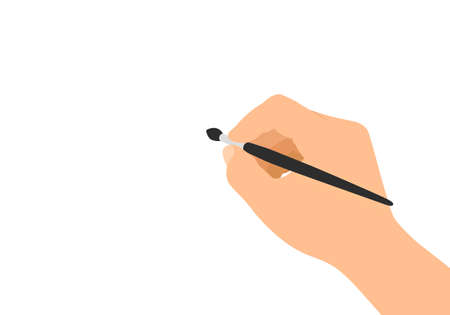 Flat design illustration of male hand holding paintbrush and paints on white background - vector