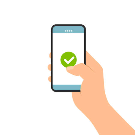 Flat design illustration of male hand holding touch screen mobile phone. Confirms and agrees on the display terms and conditions or license - vector