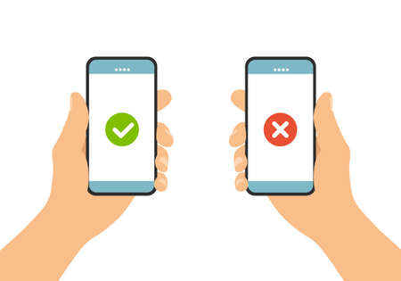Set Flat design illustration of male hand holding touch screen mobile phone. Agree and reject on display - vector