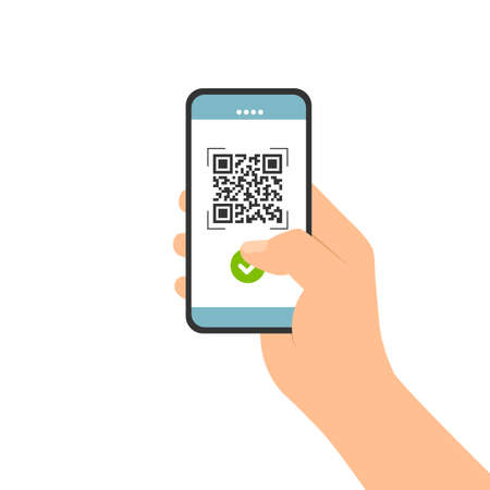 Flat design illustration of male hand holding touch screen mobile phone. Successful QR code scan for payment - vector