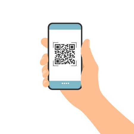 Flat design illustration of male hand holding touch screen mobile phone. QR code scan for payment or identification - vector 矢量图像