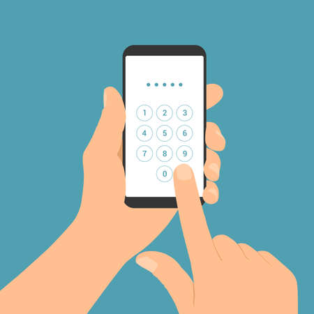 Flat design illustration of male hand holding mobile phone. Enters the PIN code on the numeric keypad of the touch screen - vector Illustration