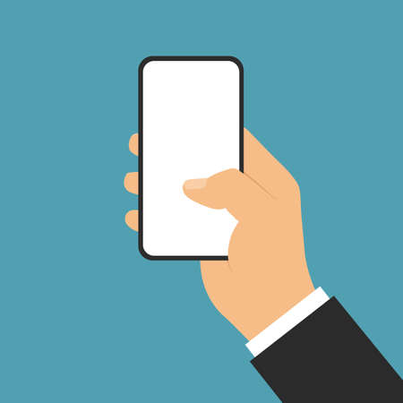 Flat design illustration of business man hand. Holding a smartphone with a blank white touch screen. Isolated on green background - vector Illustration