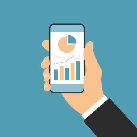 Flat design vector, hand of businessman holding mobile phone with white touch screen and financial chart, isolated on green background, suitable for infographics. Illustration