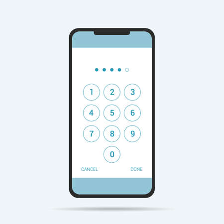 Flat design illustration of touch screen smartphone. Numeric keypad for entering PIN and unlocking the phone - vector