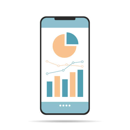 Flat design illustration of smartphone with white screen and financial chart - vector
