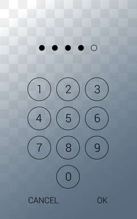 Illustration of a smartphone display with a touch screen and a numeric keypad for entering a PIN. Isolated on transparent background - vector