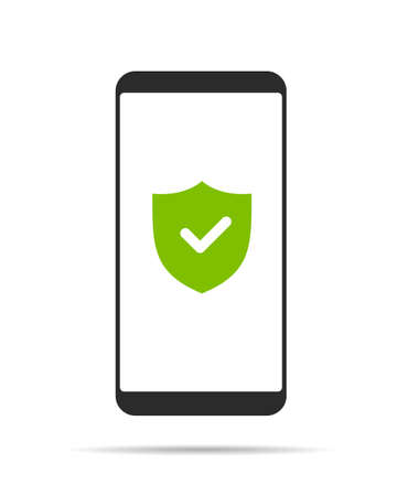 Flat design illustration of smartphone with touch screen and green shield icon for phone security. Isolated on white background - vector