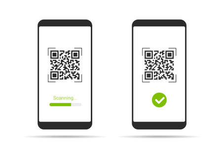 Flat design illustration of smartphone with touch screen and QR code scanning icon. Isolated on white background - vector Illustration