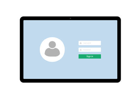 Flat design illustration of tablet with blue touch screen and login form for entering username and password - vector