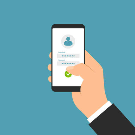 Flat design illustration of manager hand holding smartphone with white touch screen and login form for entering username and password - vector