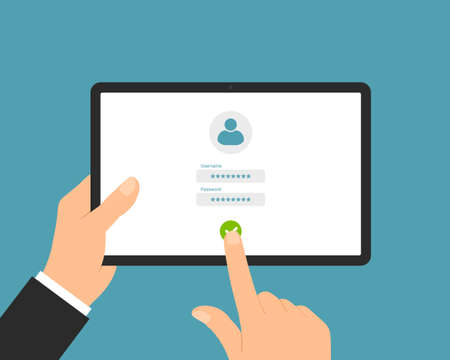 Flat design illustration of a manager's hand holding a tablet. Enter username and password on the login screen - vector Illustration