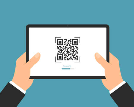 Flat design illustration of a manager's hand holding a digital tablet with a QR code scan. Suitable for internet banking or business - vector Illustration