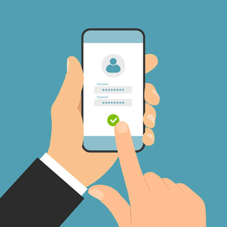Flat design illustration of manager hand holding smartphone and clicking on login touch screen with username and password - vector Illustration