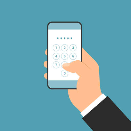 Flat design illustration of manager hand holding smartphone with login screen and entering PIN code - vector