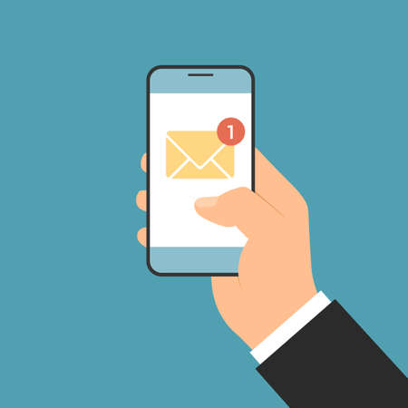 Flat design illustration of a manager's hand holding a smartphone by notifying an incoming email or SMS. Envelope icon with one unread message - vector