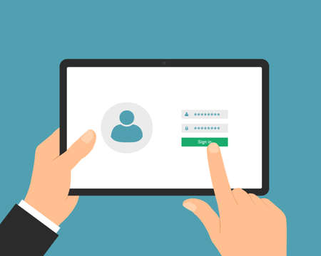 Flat design illustration of manager or business hand use digital tablet with touch screen login. Entering username and password - vector
